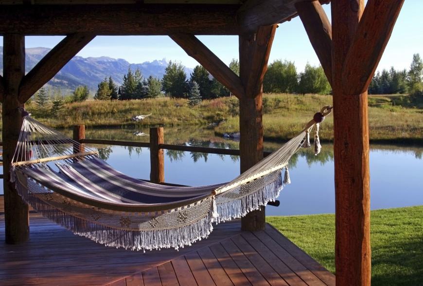 wooden garden gazebo hammock