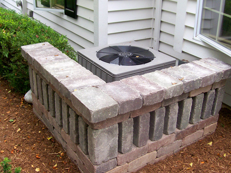 Hiding the Unit with Paver Wall