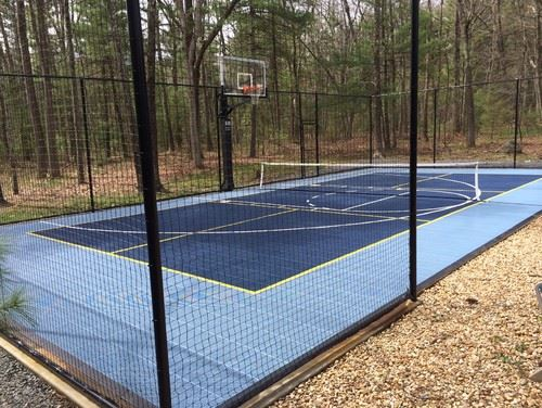 Basketball Court with Metal Fence