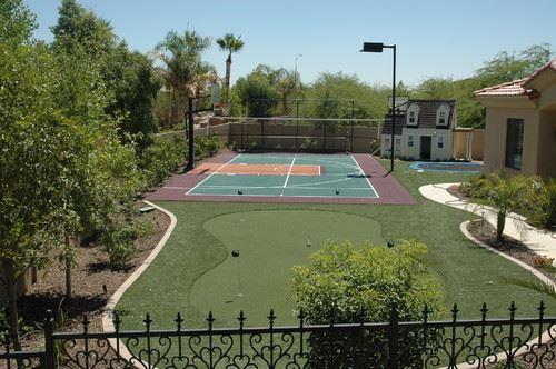Backyard Basketball and Golf Court