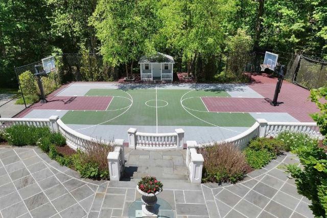 Backyard Basketball Court Ideas with Field House