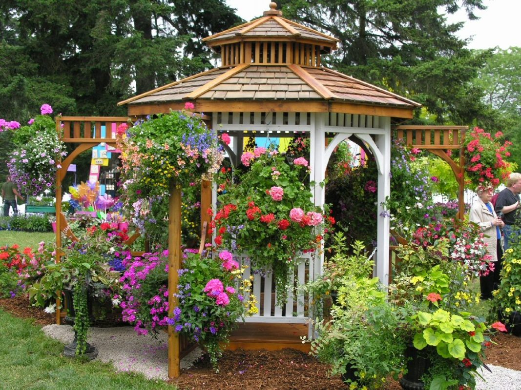 Backyard Pavilion Ideas with Plenty of Flowers