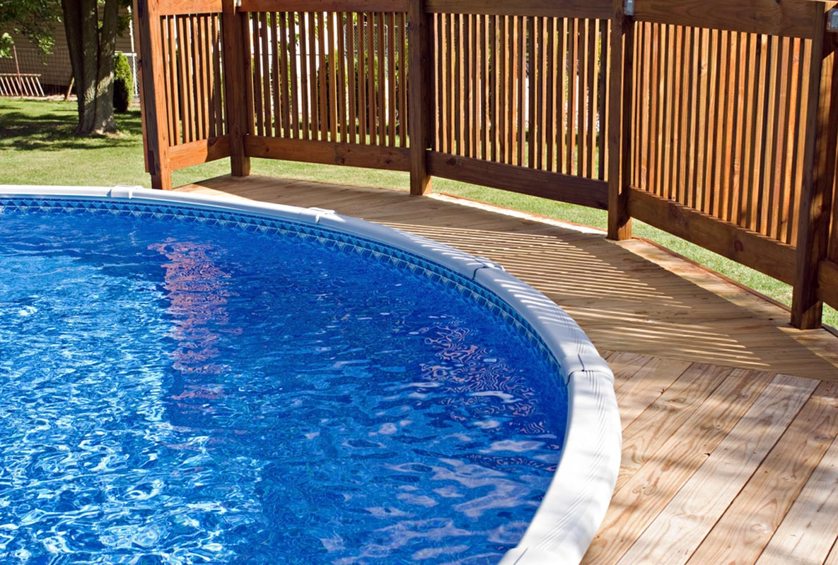 Above-Ground Pool Fence for a Tiny Deck