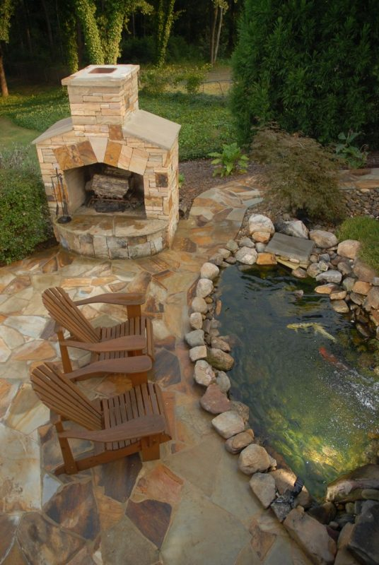 Rustic Backyard Koi Pond
