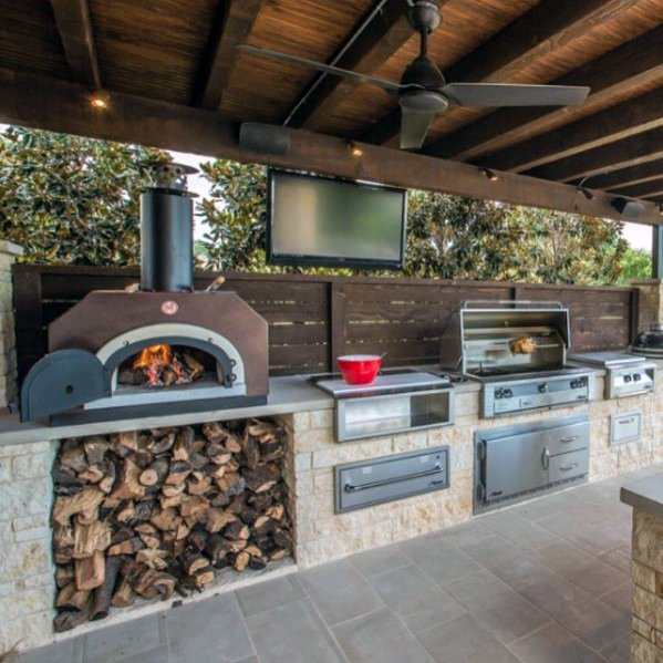 wood fired outdoor kitchen