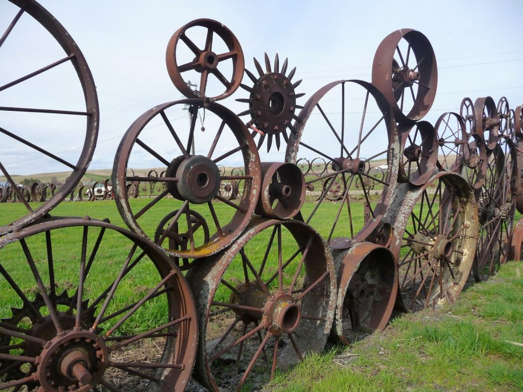 horse fence running wagon wheel